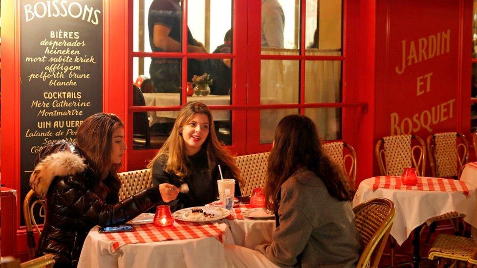 Customers at a Paris cafe, 15 Oct 20