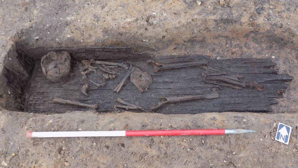 Skeleton in wooden coffin, Great Ryburgh, Norfolk