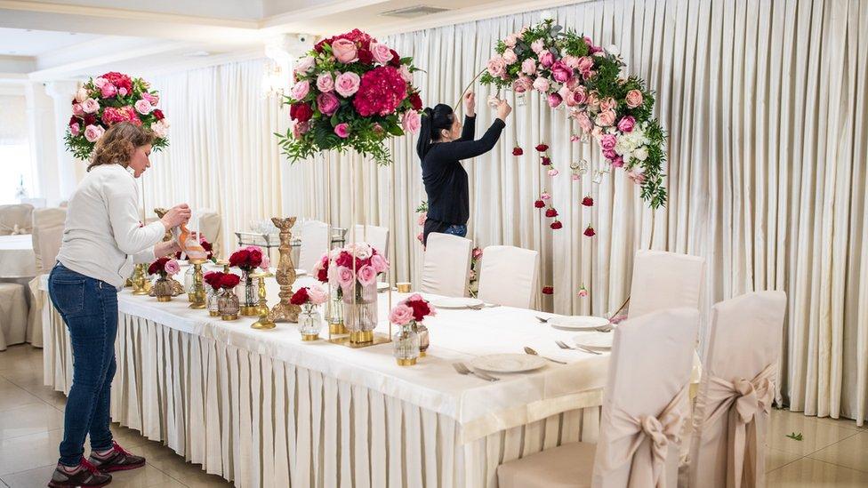Organisers getting a wedding venue ready
