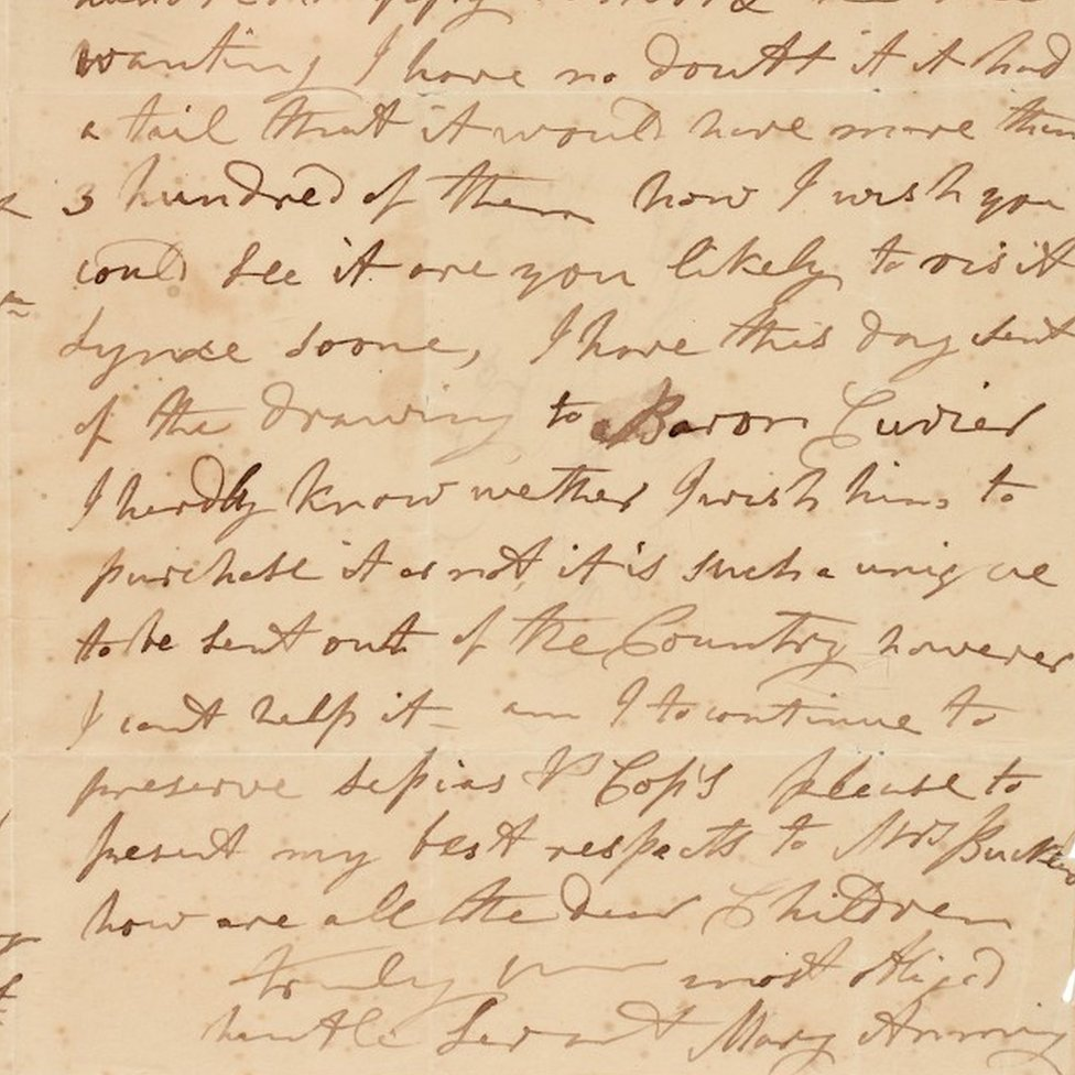 Letter written by Mary Anning