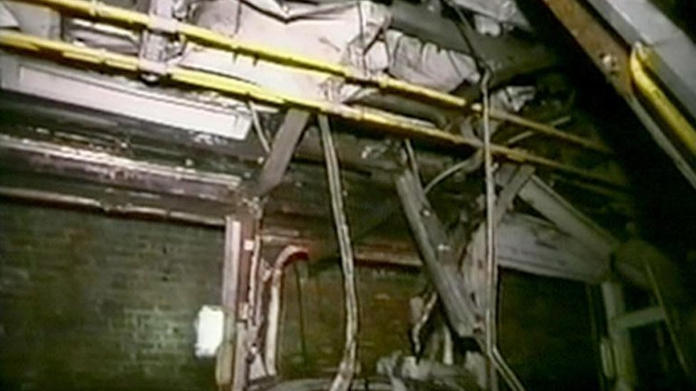 The remains of the inside of the tube train at Edgware Road which Daniel Biddle was a passenger on