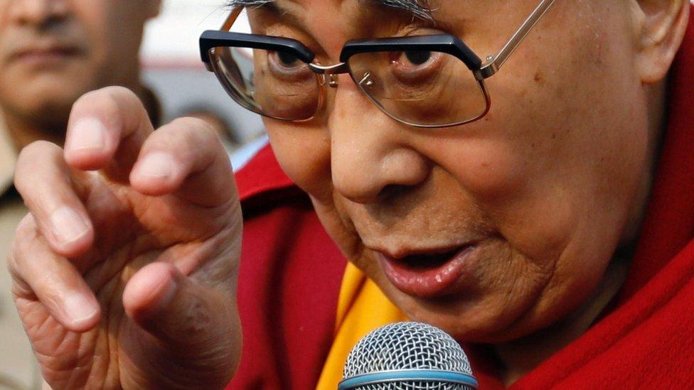 Tibetan spiritual leader, the Dalai Lama, speaks to students at a school in Mumbai, India, 8 December 2017