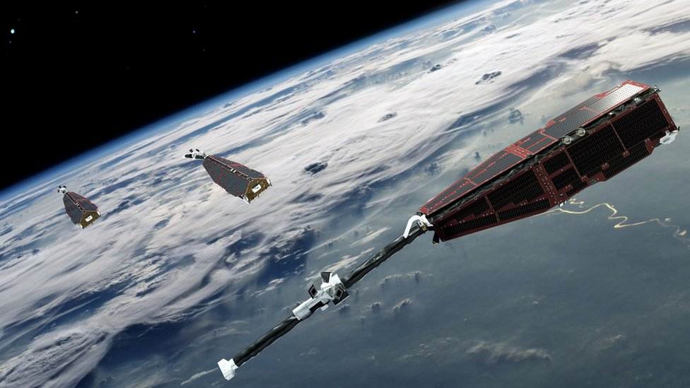 Artwork: The Swarm satellites were launched in 2013 to study Earth's magnetic field