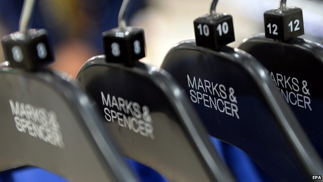 Marks and Spencer clothes on a rack