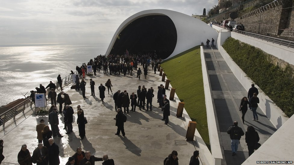 A view of Ravello's Auditorium by Oscar Niemeyer on the day of its official inauguration on 29 January 2009