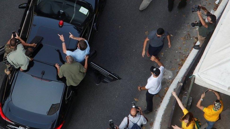 Bolsonaro chegando à manifestação em São Paulo, em 7 de setembro