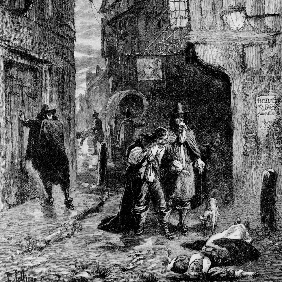 Two gentlemen come across the body of a young woman lying in the street during the Great Plague of London. Illustration by J Jellicoe and H Raillon