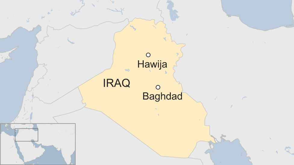 Map of Iraq showing Hawija and Baghdad