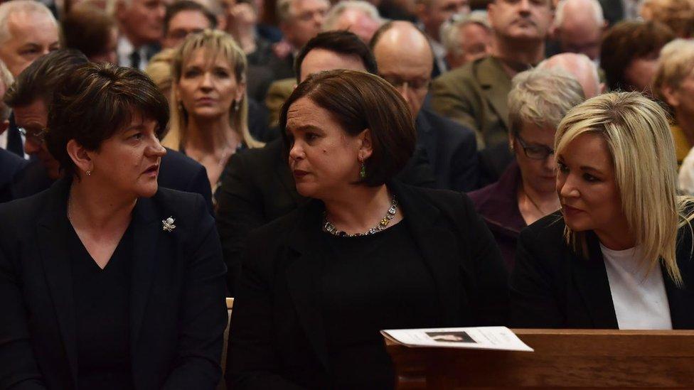 DUP leader Arlene Foster and Sinn Féin leader Mary Lou McDonald and Michelle O'Neill