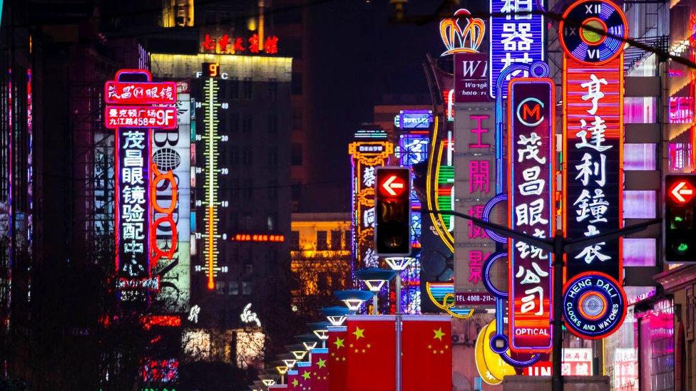 世界上人口最多的城市之一——上海,夜間霓虹璀璨