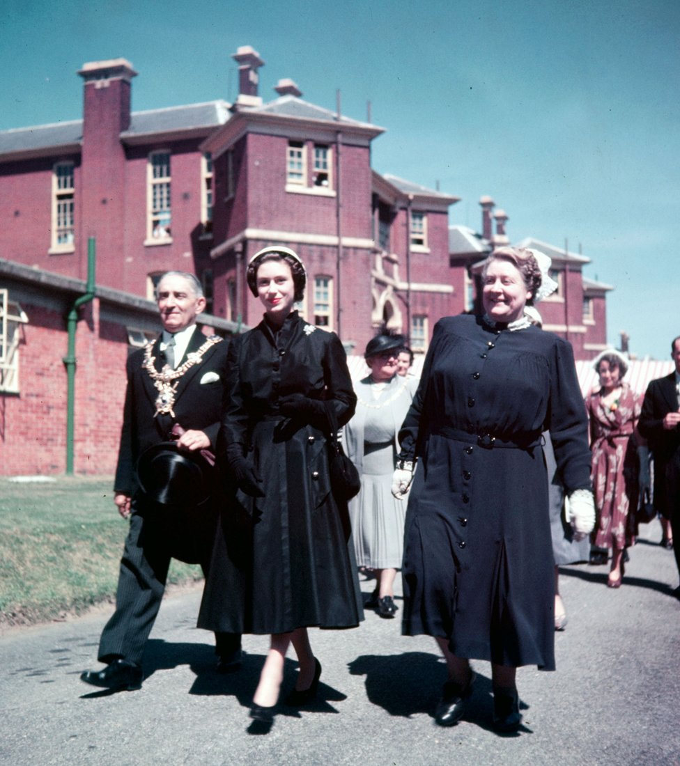 Princess Margaret seen opening a new department of the Queen Alexandra Hospital at Cosham, Portsmouth, in 1952