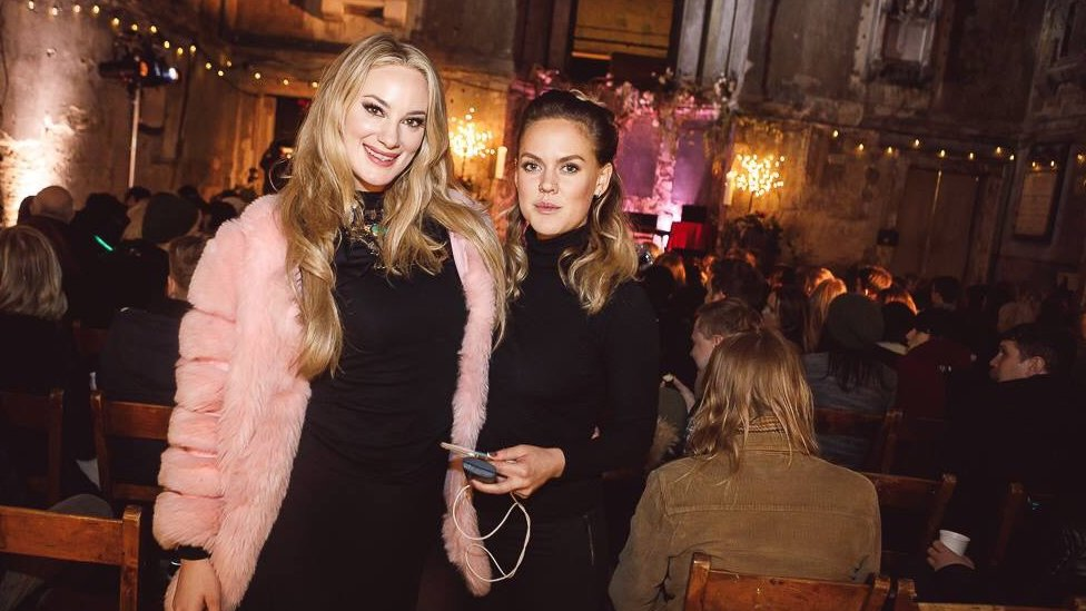 Charlotte Ågren , right, the founder of London Swedes at an event