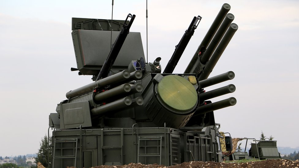 A Russian Pantsir-S1 anti-aircraft defence system at the Russian Hmeimim military base in Latakia province, in the northwest of Syria, on December 16, 2015.