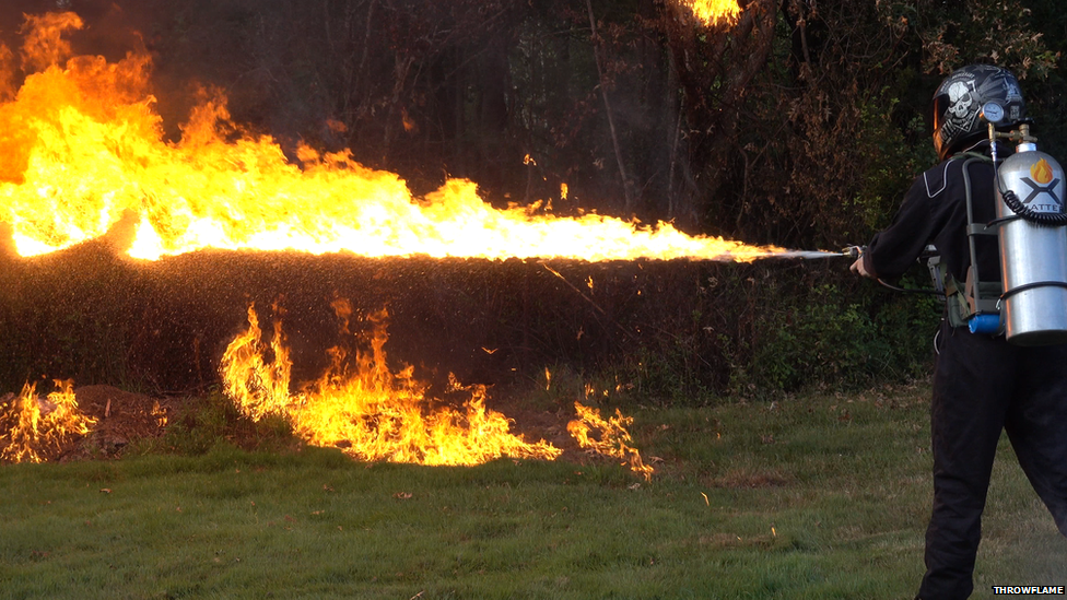 A flamethrower in use