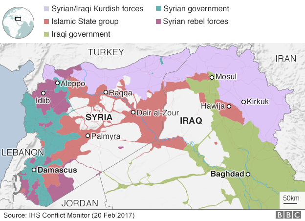 Map showing territory in Syria and Iraq controlled by various different groups