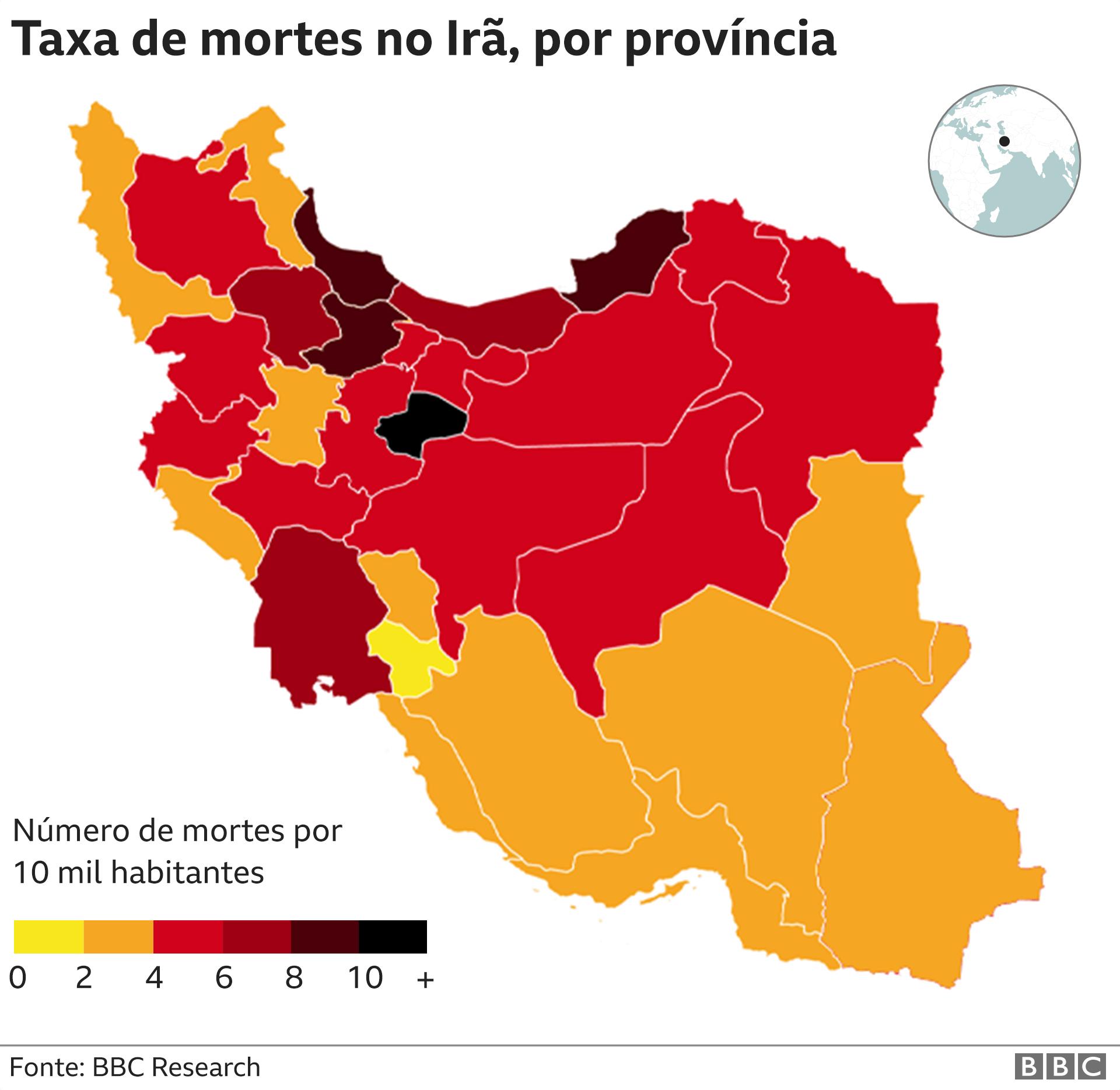 gráfico com taxa de mortes por província iraniana