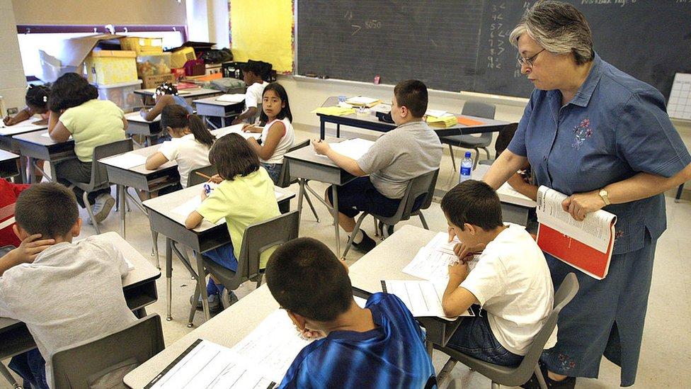 Un grupo de estudiantes en Chicago, Estados Unidos.