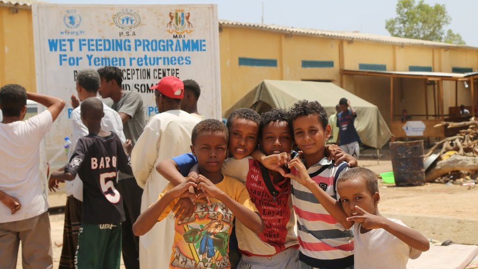 Children at feeding programme for Yemen returnees in Bossasso, Somalia