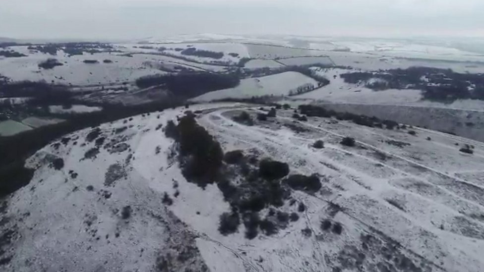 Drone footage shows snow on Devil's Dyke