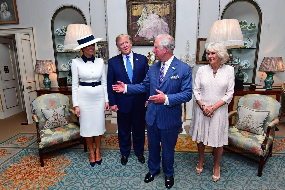 Mr Trump and the First Lady with the Duke and Duchess of Cornwall at Clarence House