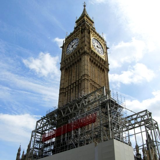 Big Ben with scaffolding around its base