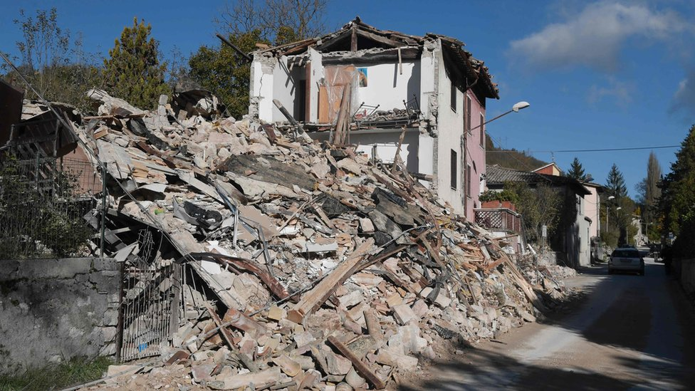 Destroyed houses in the village of Borgo Sant'Antonio, near Visso, an area hit by earthquakes
