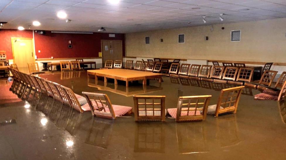 Flooded boardroom