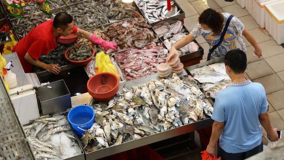 Mercado mojado en Singapur.
