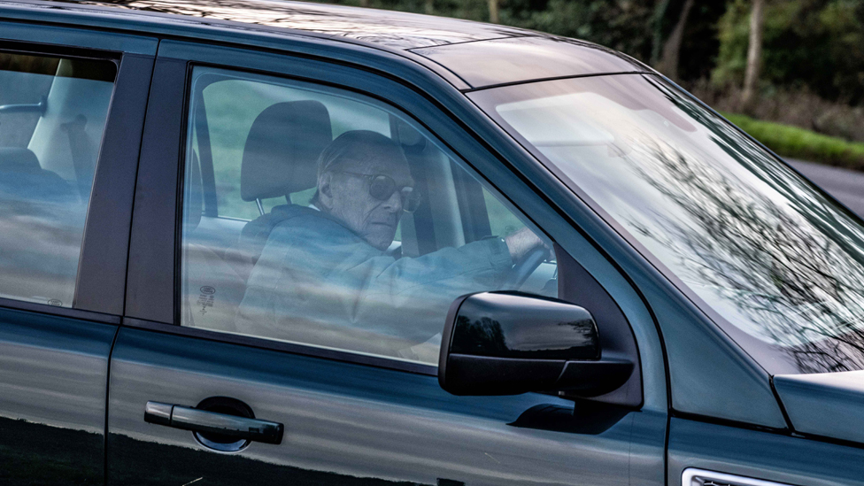 Prince Philip driving near Sandringham Estate on 19 January 2019