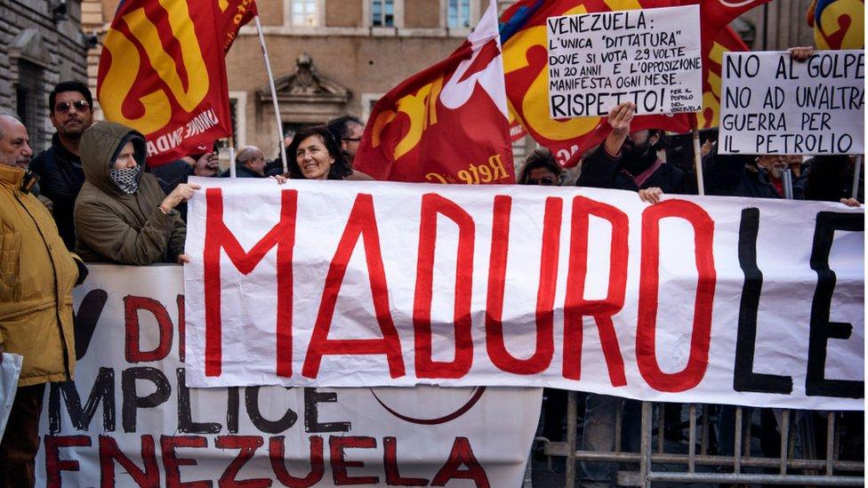 Marcha de apoyo a Maduro en Italia