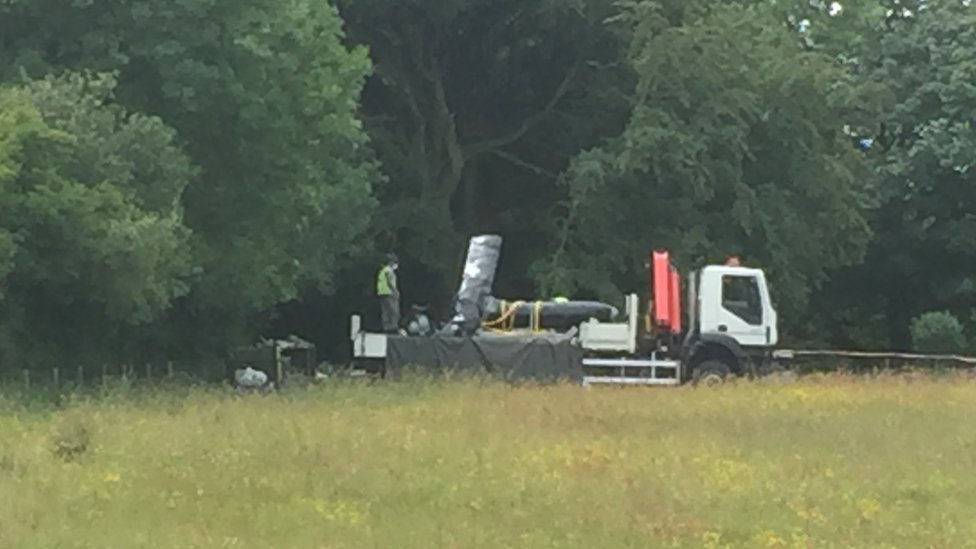 The crashed Watchkeeper drone being recovered