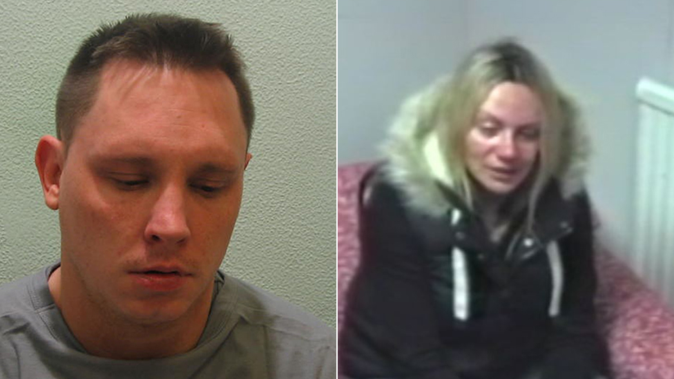 Ben Butler and Jennie Gray being interviewed by the police