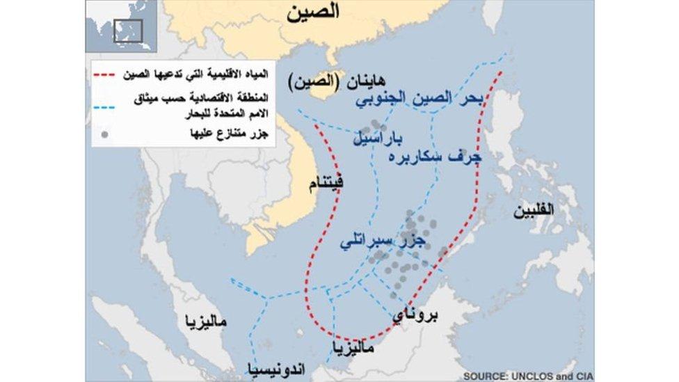 خريطة لمنطقة بحر الصين الجنوبي