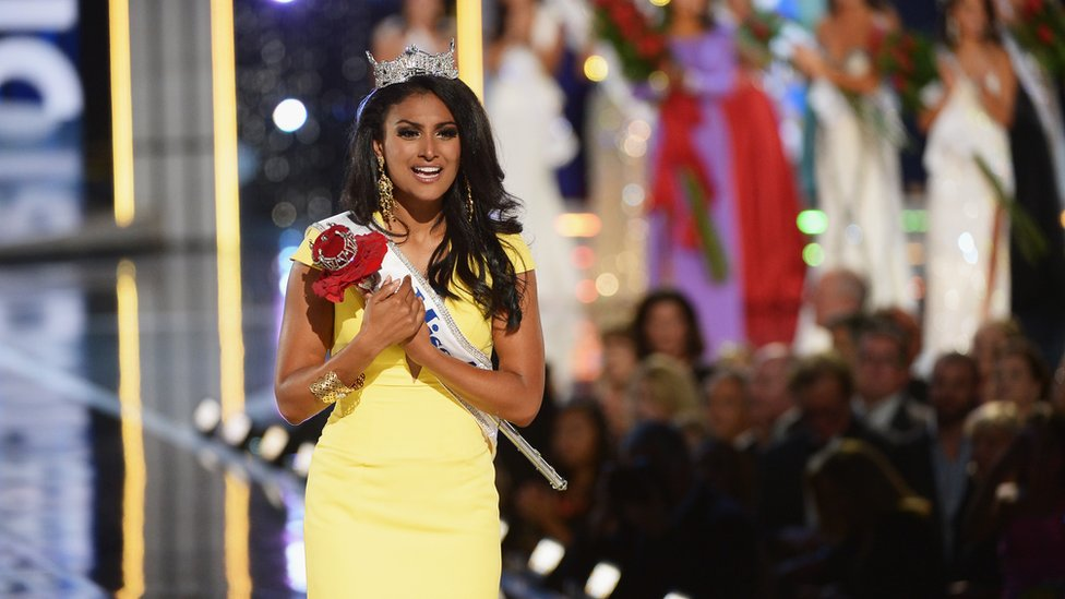 Nina Davuluri, the first contestant of Indian descent to win Miss America. Her parents came from Andhra Pradesh.