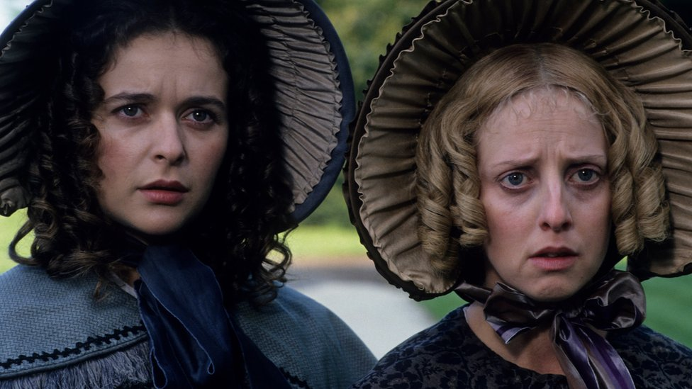 Emma Chambers as Charity Pecksniff in the BBC adaptation of the 1994 novel Martin Chuzzlewit by Charles Dickens