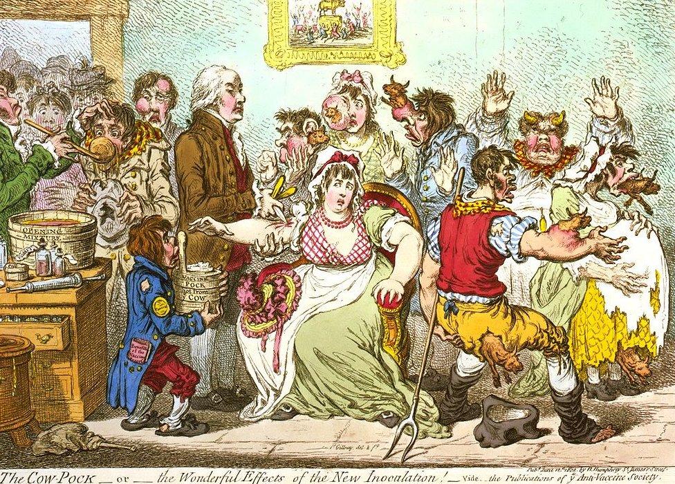En la caricatura se ve gente a la que le salen vacas del cuerpo.