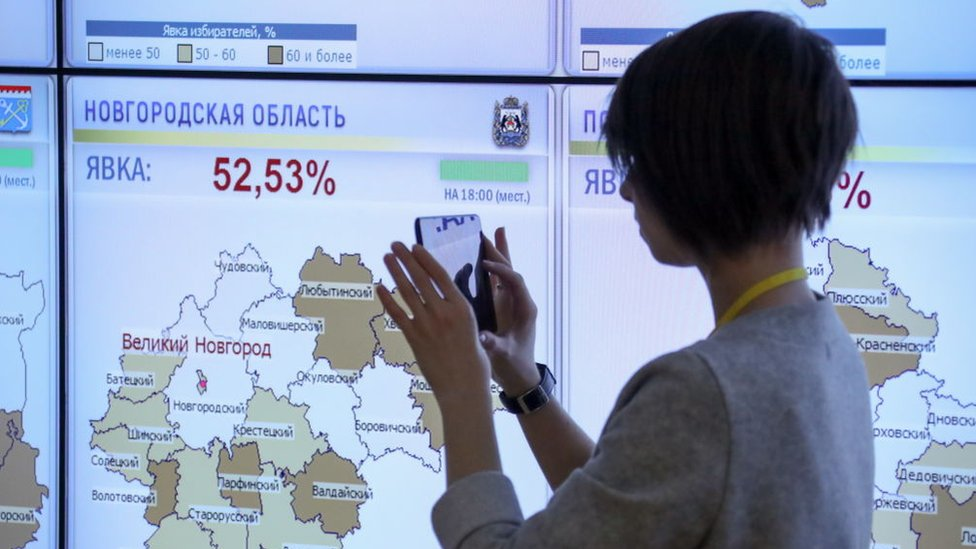 Monitoring voter turnout at the CEC information centre during the 2018 Russian presidential election