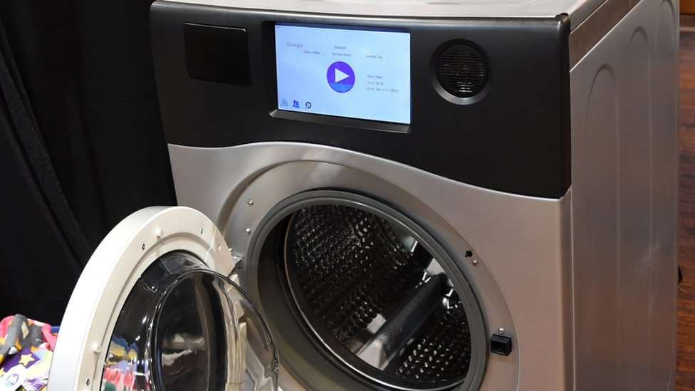 A washing machine with a touchscreen