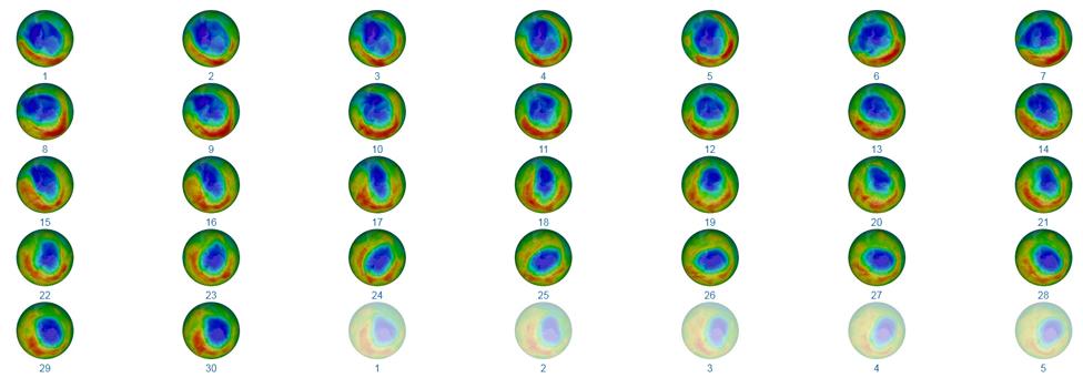 Cambios en la capa de ozono en septiembre de 2019