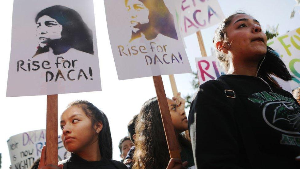 Una protesta a favor del programa DACA.