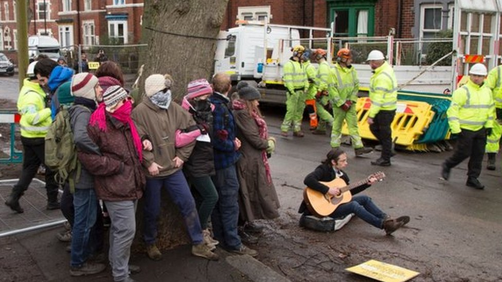 Tree protest on Meersbrook Park Rd, Monday 22 January 2018