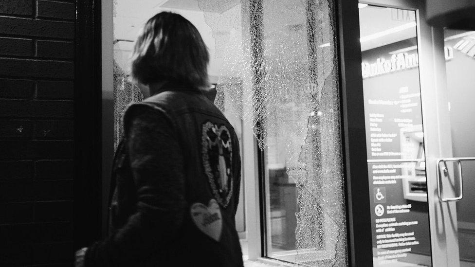 Broken shop window in Portland, Oregon, after the anti-Trump protests of 10 November, 2016