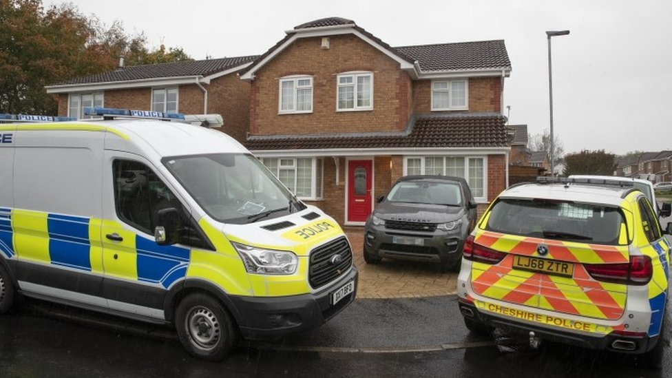 Police outside the house of Thomas Maher in Warrington