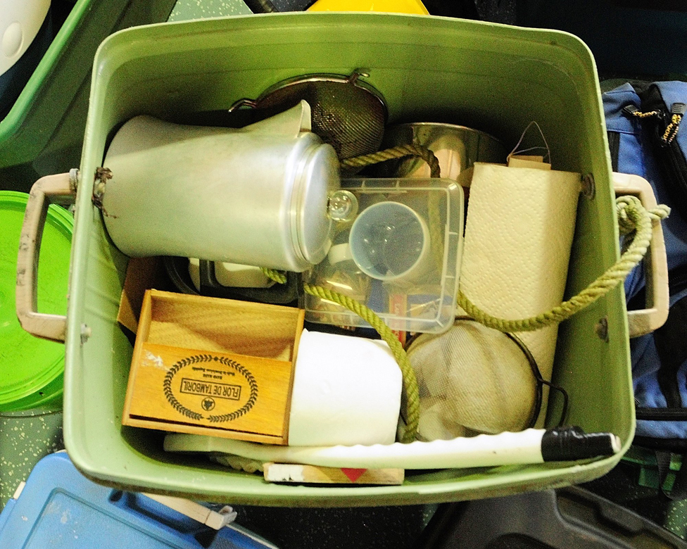 A coffee pot and other items recovered from Knight's camp