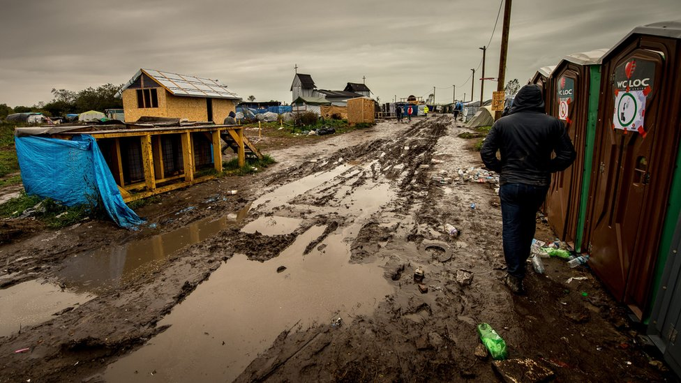 Wet weather has turned the camp's roads into a quagmire