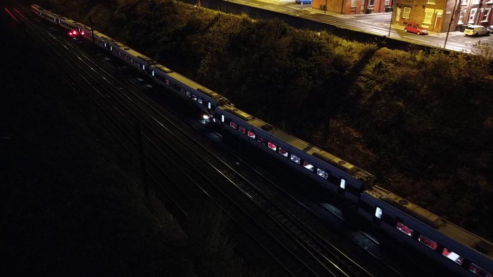 damaged trains