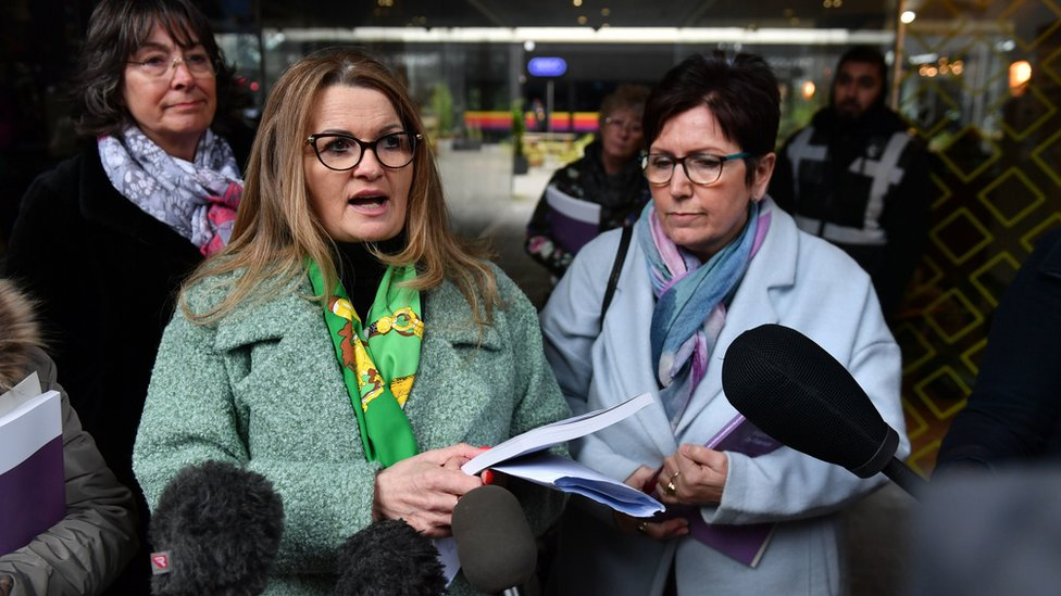 Tracey Smith and Debbie Douglas being interviewed