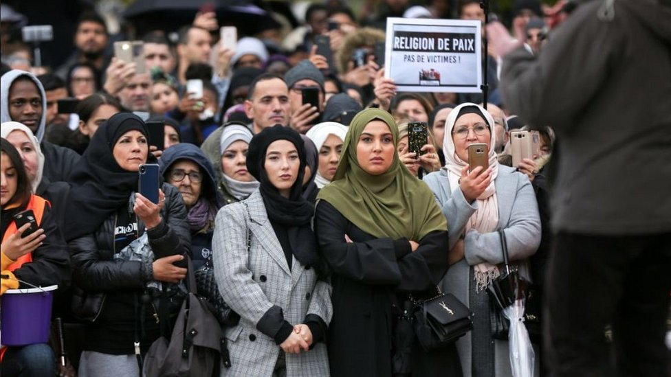 Anti-Islamophobia rally in Paris, 27 Oct 20