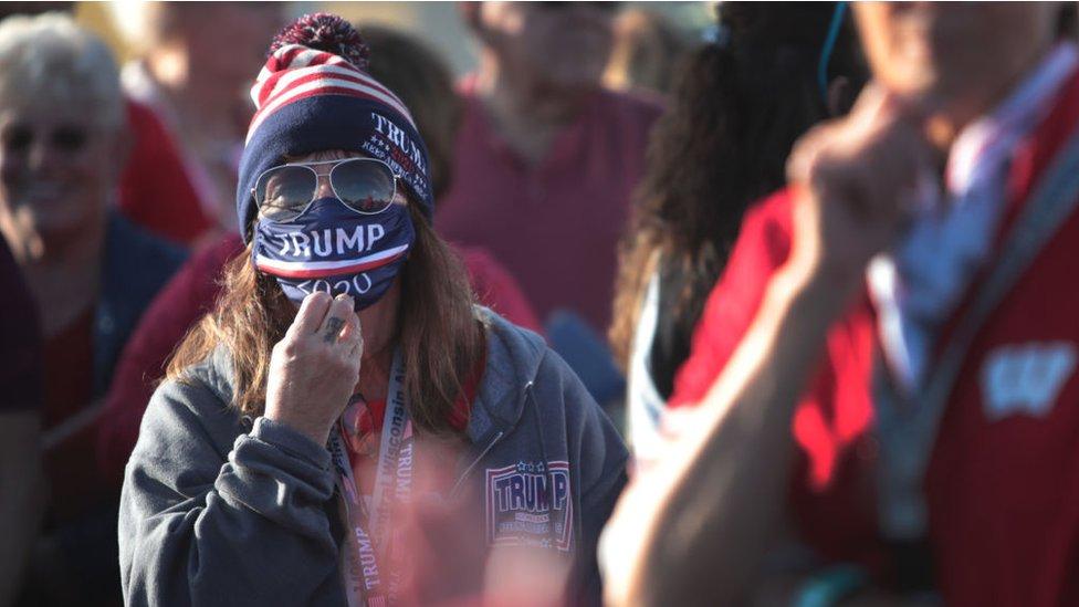 أنصار ترامب ينتظرون بدء مسيرة في ويسكونسن 17 سبتمبر/أيلول 2020