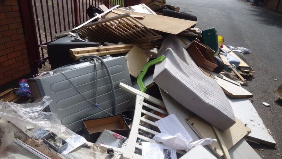 Fly-tipped rubbish